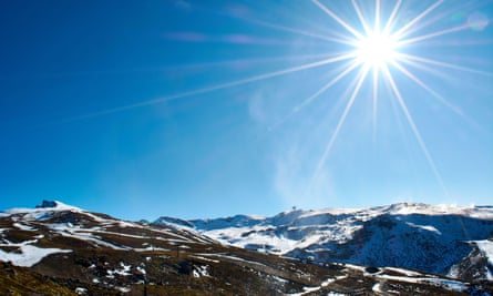 A ski resort in Granada, Spain, which was forced to use artificial snow cannons due to a lack of snow this winter.
