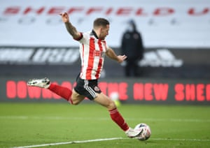 Billy Sharp fires the second goal for the Blades.