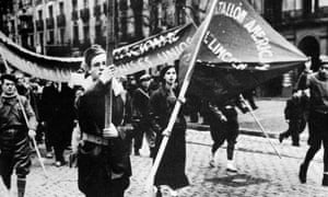 The American Lincoln battalion of the International Brigades during the Spanish Civil War 1937.