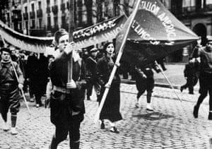 The American Lincoln battalion of the International Brigades in Spain circa 1937.