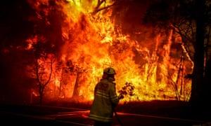 A bushfire threatens homes near Sydney, Australia.