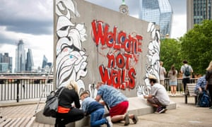 A protest wall installation created on the Southbank by Ben & Jerry's. The installation was moved around the country during Refugee Week