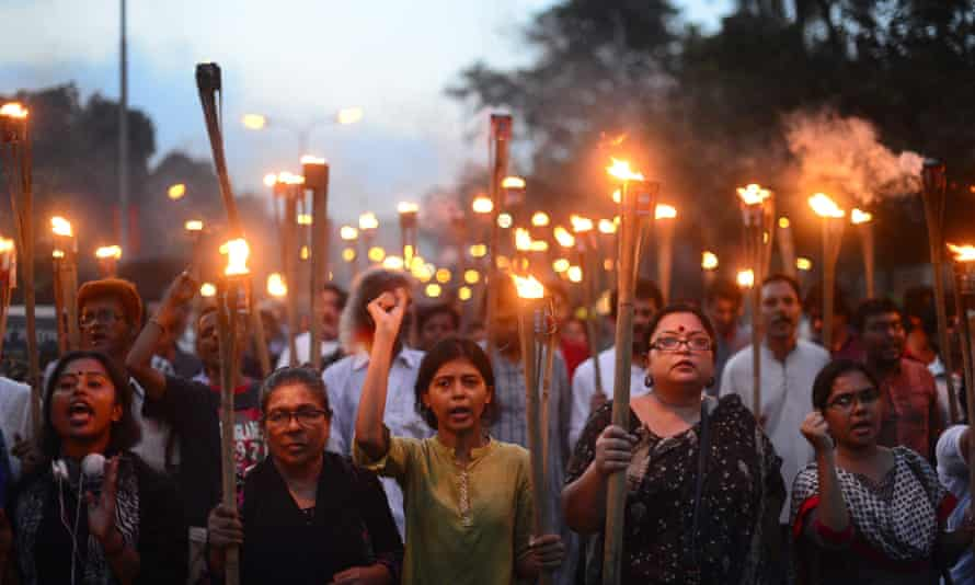 Torch-lit protest