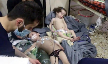 Children after attack on Douma