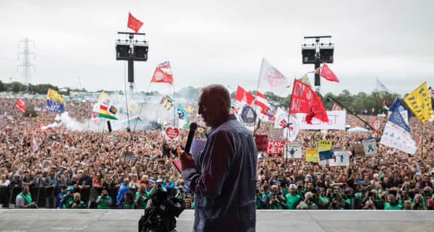 Jeremy Corbyn addressing the vast Pyramid stage crowd.