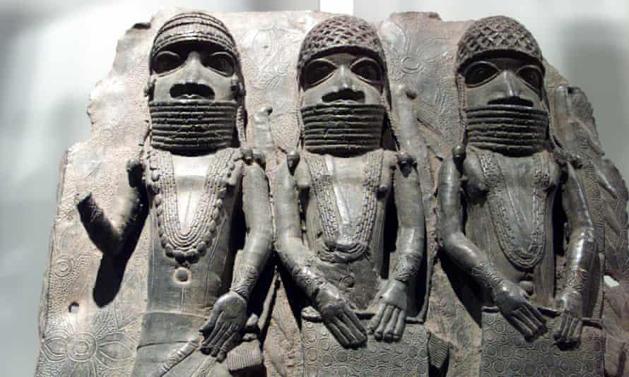16th century brass plaques that would have been used on the wooden pillars of the royal palaces in the Benin empire