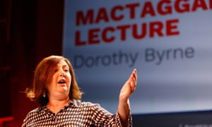 "Dorothy Byrne delivers the James MacTaggart Memorial Lecture at the Edinburgh Television Festival on 21 August. 'Her fiercest ire was reserved for the party leaders she called ""cowards"".'"
