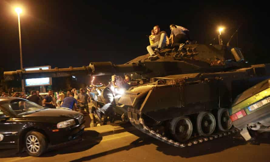 A tank on the streets of Istanbul during a failed coup in 2016