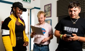 Young people record a track at Music Fusion in Hampshire