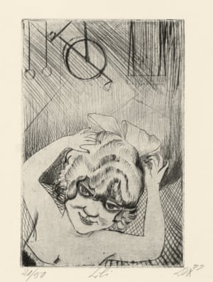 Lili, Queen of the Air, by Otto Dix. The 1922 sketch is part of the artist's Circus portfolio.