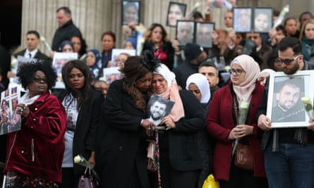 Mourners at the Grenfell memorial service at St Paul's cathedral