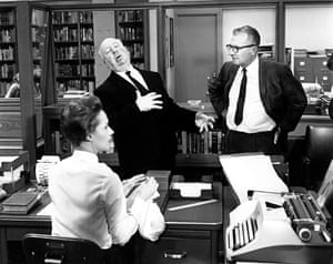 Marnie (1964) Hitchcock shows cinematographer Robert Burks how Marnie (Tippi Hedren, in foreground) should faint after seeing a red spot on her blouse. Burks shot 12 films for Hitchcock including Strangers on a Train, Rear Window and Vertigo. Images and stories from Alfred Hitchcock: The Complete Films, edited by Paul Duncan and published by Taschen