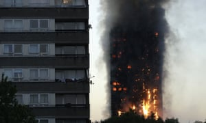 Smoke and flames rise from Grenfell Tower