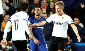 Valencia's Daniel Wass (right) celebrates scoring their second goal.