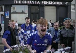 Chelsea supporters outside a pub near Stamford Bridge in London are loving it.