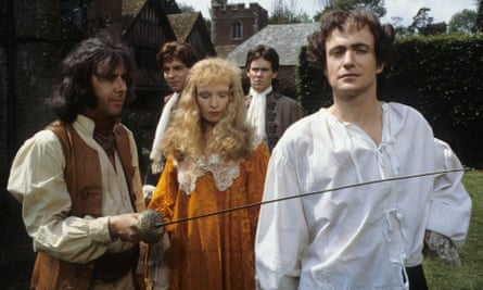 Richard O'Sullivan, left, as Dick Turpin in the eponymous ITV series produced by Paul Knight, with, from left: Marc Sinden as Joss Melford, Lindsay Duncan as Catherine Langford, Tony Boncza as Gill Crabtree and Simon Rouse as Edward Faversham.