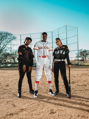 Models wearing MIZIZI Ghana baseball jerseys, a Ghanaian American fashion company that designs sports tops that connect people with their cultural roots