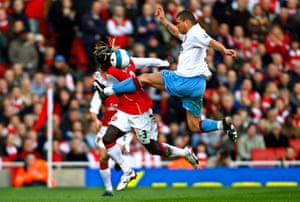 Aston Villa's Wilfred Bouma during a Premier League match against Arsenal in 2008.