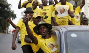Museveni's supporters celebrate his election victory in Kampala on Saturday.