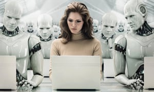 Woman on computer Surrounded by Robots