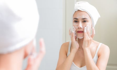 Washing your face will help to get rid of spots. (Posed by model)