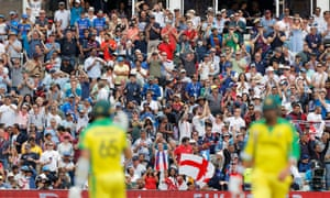 England fans celebrate as Australia are bowled ot for 223.