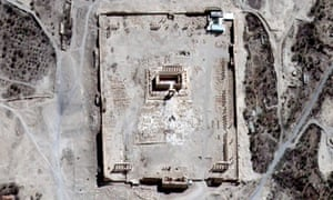 The Temple of Bel's rectangular structure surrounded by columns, as shown before it was destroyed by an explosion.