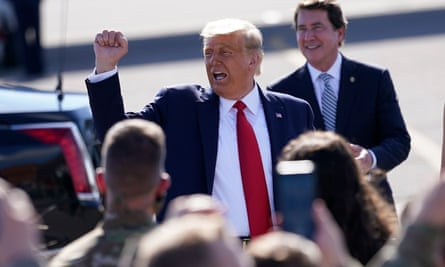 The US president, Donald Trump, arrives at the final presidential debate on Friday