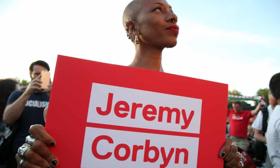 A BAME rally in Highbury Fields, London, in support of Jeremy Corbyn's re-election campaign.