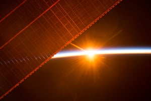 A NASA image of sunrise from International Space StationA photo taken on July 26, 2017 by a member of the Expedition 52 crew aboard the International Space Station shows one of the 16 sunrises they experience every day while orbiting Earth. One of the solar panels that provides power to the station is seen in the upper left. NASA/Handout via REUTERS ATTENTION EDITORS - THIS IMAGE WAS PROVIDED BY A THIRD PARTY - RC180E6A5D10