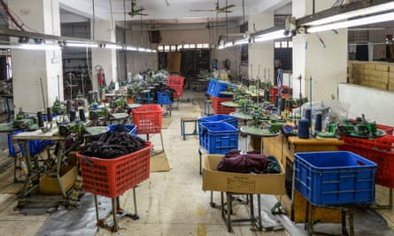 An empty garment factory in Savar on the outskirts of Dhaka is seen during a government-imposed coronavirus lockdown.