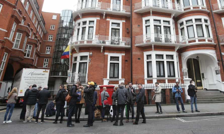 Media outside the Ecuadorian embassy in London