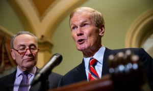 Democrats Chuck Schumer and Bill Nelson on Tuesday. Nelson, whose Senate race with Rick Scott is too close to call, called on Scott to recuse himself.