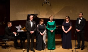 'Generous collaboration': Jonathan Ware at the piano with (l-r) Gavan Ring, Ailish Tynan, Ann Murray, Tara Erraught and Robin Tritschler at Wigmore Hall.