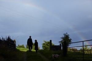 Jane and Harry entering the Oak Tree Field at Fern Verrow.