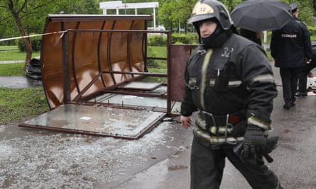 The scene of a fatality after a bus stop fell over in Moscow's Kirovogradskaya Street.
