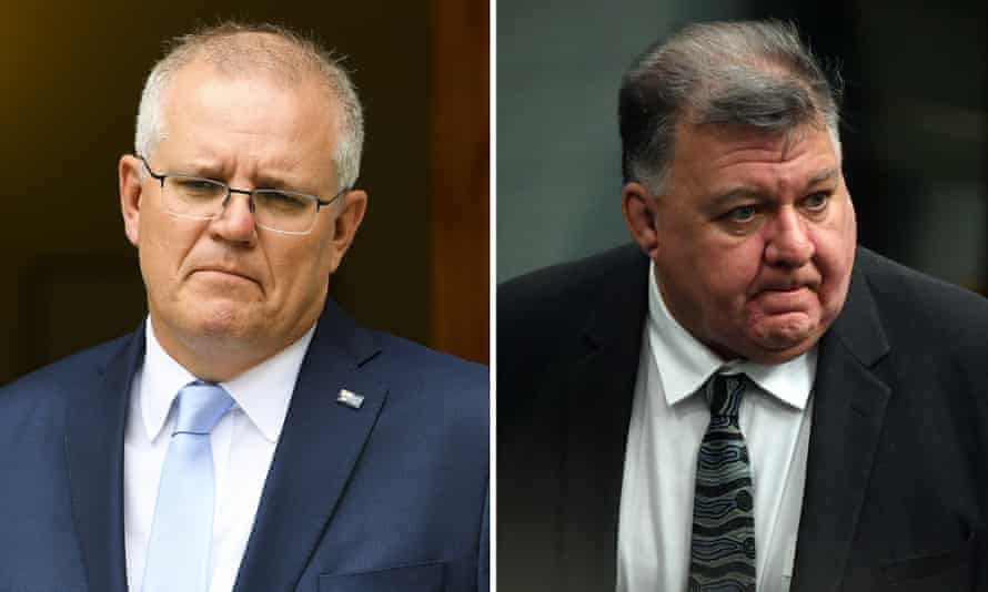 An Australia Institute survey found 76% of Australians want the prime minister Scott Morrison (left) to 'clearly and publicly criticise' the Liberal MP Craig Kelly (right) for posting misinformation about the Covid pandemic on social media.