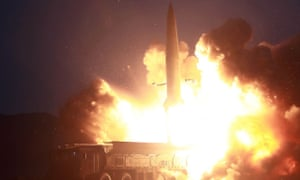 A 6 August 2019 picture shows a North Korean missile launch from an undisclosed part of the country.