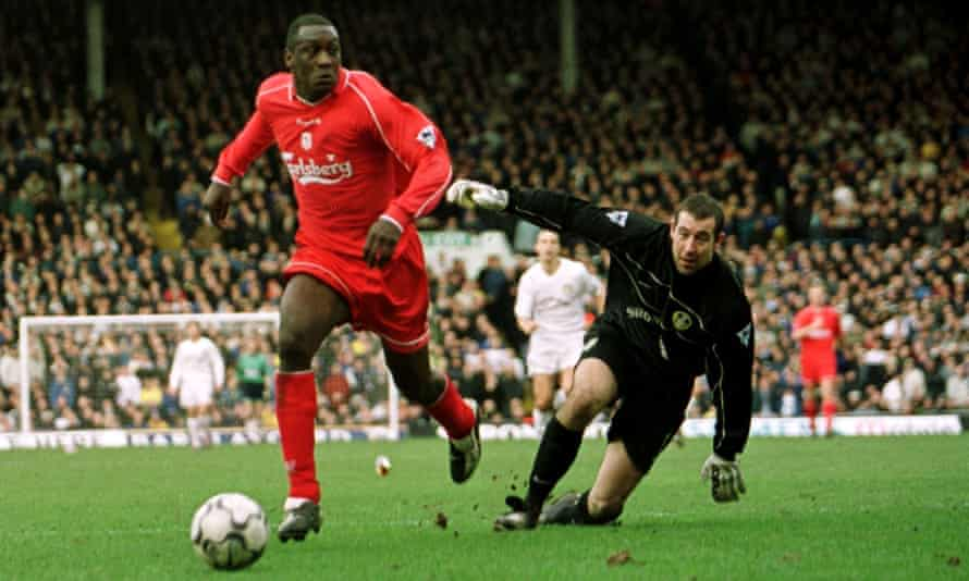 Emile Heskey goes round Nigel Martyn to put Liverpool 2-0 up at Elland Road in 2002.