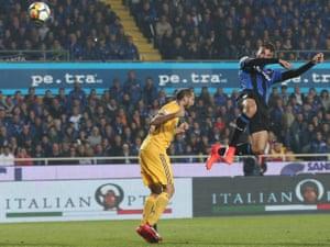 Atalanta's Bryan Cristante scores his side's second goal.