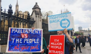 Pro Brexit campaigners outside the Houses of Parliament.