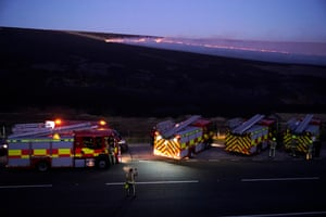 Fire engines parked near the moor