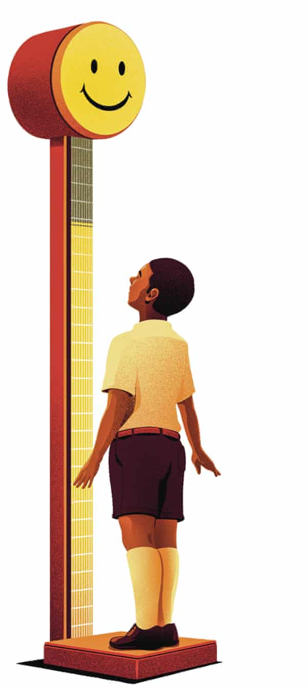 Illustration by Eric Chow of a boy measuring himself on set of a happiness scales