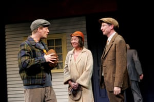Douglas Henshall, Clare Higgins and Jonathan Aris in Death of a Salesman at the Lyric theatre, London, in 2005.
