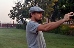The Hollywood actor and environmentalist Leonardo DiCaprio takes a selfie in the Taj Mahal gardens in October 2015