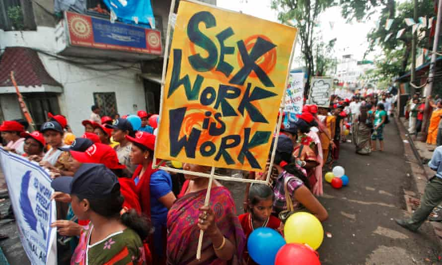 Participants take part in a rally as part of the week-long sex workers' freedom festival at the Sonagachi Red-light area in Kolkata in 2012.