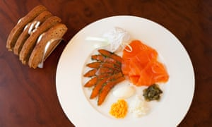 'Dense texture, light cure': smoked salmon and gravadlax from the smoked fish trolley.