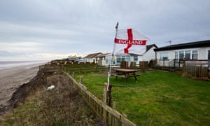 Homes by the coast in Skipsea in danger of falling into the sea.