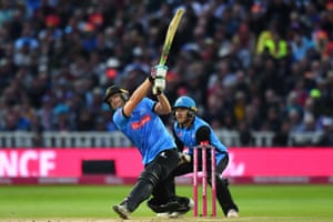 Sussex Sharks' Luke Wright hits a six.