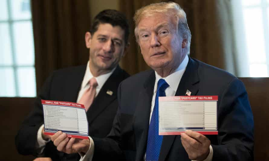 Donald Trump, pictured with Paul Ryan, presents his tax proposals.